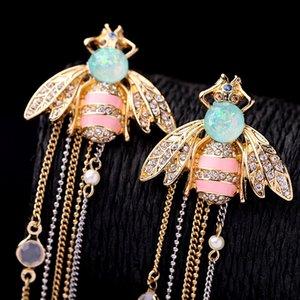 designer tassel earrings Sterling Silver Cute Bee Drop long dangle white tassel earrings for Women jewelry for Teen Girls gift