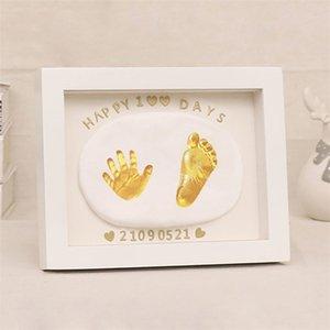 Baby Footprint Photo Frame Nichttoxischer Handprint Clay DIY Casting Kit Für Neugeborene Baby Kinder Souvenirs und Geschenke Babys Artikel LJ201215