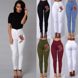 Вышивка Цветок Узкие джинсы Женщина Черный высокой талией Рендер джинсы Vintage Sexy Длинные брюки Femme повседневные брюки карандаш джинсовой ткани