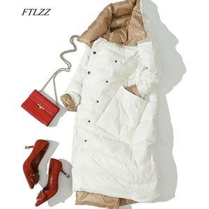 FTLZZ Women Double Side Long Jacket Winter Ultra Light White Duck Down Parka Breasted Plus Size 3xl Female Outwear