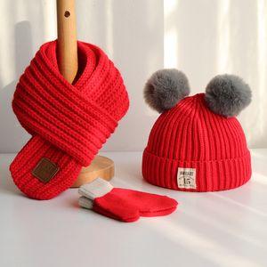 Baby hat Autumn winter children hat scarf boys and girls fashion head cap scarf baby woollen hat trend glove 3-piece suits gift