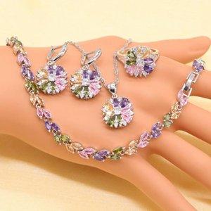 XUTAAYI Set di gioielli per le donne Sterling Silver Stones multicolore Pietre cubiche Zirconia Orecchini / Pendente / Collana / Anello / Bracciale
