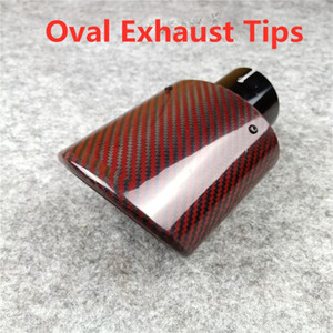 Oval Shape 1Pcs Car Styling Glossy Red Carbon Muffler End Pipe Exhaust Pipe Muffler For Akrapovic Carbon Exhaust Tips