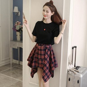 Summer Korean 2 Piece Set Women Leisure Short Sleeve T-Shirt + Elastic Force High Waist Irregularity lattice Short Skirt Set1