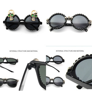 Sunglasses Punk Black Women Rhinestone Square Skull round Sun Glasses Halloween Party Festival Hip Hop Fashion Style W023