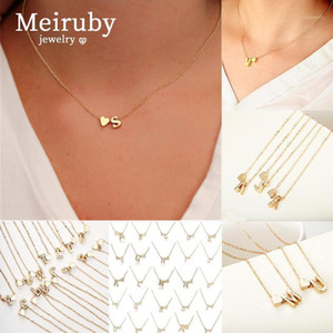 26-letras Gravatas Gravatas Nome das Mulheres Jewerly Presente Fashion Sliver Heart for Women Link Cadeia Necklace1