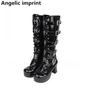 Angelic imprint mori girl Women motorcycle punk boots lady high heels lolita shoes woman princess dress pumps 8cm 33-47 buckles