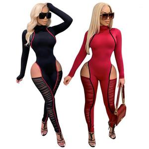 Designer Womens Pagliaccetto Sexy Mesh Slim Skinnny Tutes Tute in pannelli Alto collo Abbigliamento da donna Nuovo scava fuori