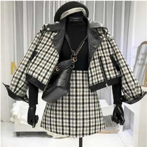 2019 Novo Outono e Inverno Lady Splice Curto Lã Casaco + Cintura Alta Mini Saia Two-Piece Feminina Fashion Skirt Ternos