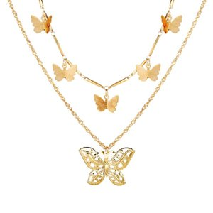 New Butterfly Pendant Necklaces For Women Fashion Gifts Charm Gold Multilayer Choker Necklace 2020 Bohemian Jewelry
