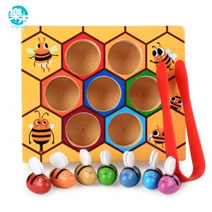 Logwood baby wooden Novelty & Gag Toys Beehive game learning Education toy Bee table game Children gifts Q0115