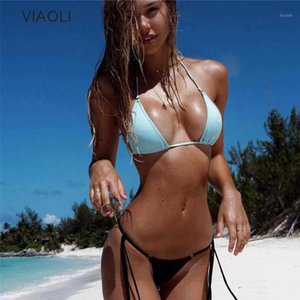 VIAOLI 2018 Новый дизайн Ретро Бикини набор Simple Model Brazilian Sexy Swimsuit Bikinis Halter Bequided Biquini Feminino Swearh1
