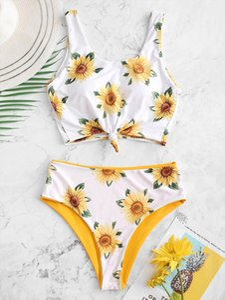 Sunflower Print Bikini Set Swimwear Women Knotted Bikinis Push Up Padded Two Sides Swimsuit Bathing Suit Reversable Bikinis 2020