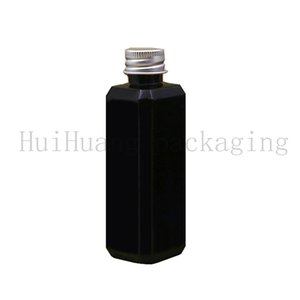 100pcs 100ml Black Clear Blue Empty Square Plastic Container Aluminum Screw Lid Travel Lotion Packaging For Cosmetics