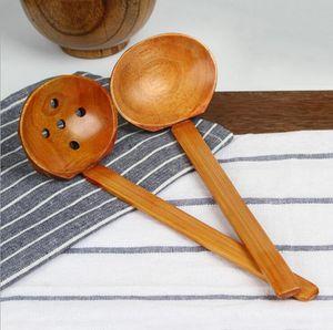 Wooden Turtle Soup Spoon Colander Wood Tableware Japanese Style Ramen Wooden Long Handle Hot Pot Spoons Creative Custom Carved Spoon GWD2391