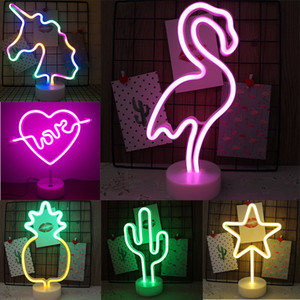 USB LED Neon Sign Light Holiday Flamingo Night Light Xmas Party Wedding Decoration Night Light Home Gift Unicorn Heart Neon Lamp C1007