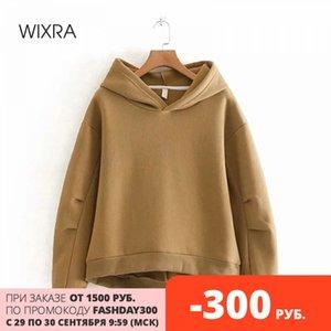 Wixra Kadınlar Fleece Hoodies Sweatshirt Sonbahar Kış Katı Gevşek Kalınlaşmak Kapşonlu Sweatshirt Casual Jumper Kazak 200930