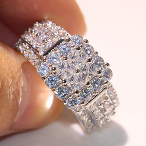 Sparkling Original Hot Choucong Brand Luxury Jewelry 925 Sterling Silver Princess White Topaz CZ Diamond Eternity Women Wedding band Ring