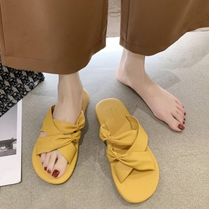Fashion Cross Strap Ladies Low Heel Slippers and Sandals Elegant Bow Beach Woman Flip Flops Comfortable Soft Bottom Shoes