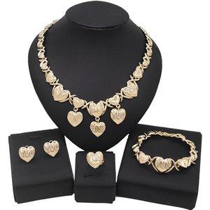 Yulaili Forma de corazón con encanto letra te amo Crystal Xoxo Collar colgante Pendientes Pendientes Pulsera Anillo Partido Gran Disfraz Juegos de Joyería