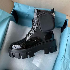 Prada Nuova tendenza femminile di design nero in nylon lucido Martin stivali piattaforma inferiore spesso del tutto-fiammifero stivali a piedi nudi