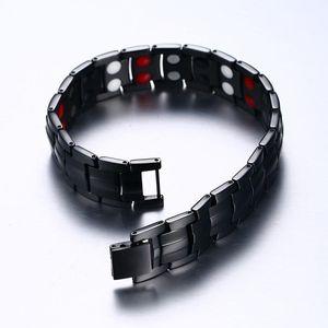 Black Titan Magnetic Armband Herren Kettenglied Health Energy Magnetische Titan Armband Germanium Magnet Gesundheit Armbänder Männlich1
