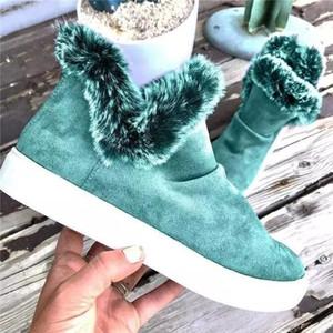 Womens Botas De Couro Designer Mulheres Casual Sapatos Womens Inverno Botas Senhoras Furry tornozle Botas Flat 2020
