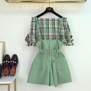 Women Off Shoulder Slash Neck Plaid Blouse Shirt+Green Pocket Sashes Suspender Shorts Set Summer 2 Piece Pant Set Overralls 201007