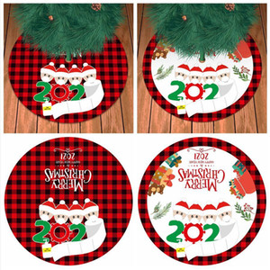 90CM Christmas Tree Skirt New Year Personalized Surviving Family Pattern Christmas Tree Bottom Decoration Pad Gifts Sea Shipping DDA670