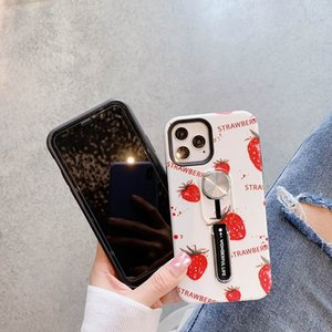 1pcs Magnetic Holder Ring leaf Cover Strawberr for iPhone 12 Pro Max Air Outlet Car Holder Case for iPhone X XR XS MAX Invisible Bracket