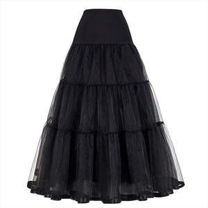 Plus Size Long Skirts Womens Rockabilly Underskirt Tulle Crinoline Vintage Midi Bridal Wedding Petticoat Pleated Maxi Skirt