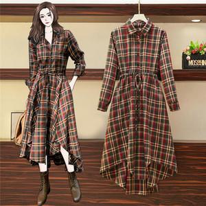 Plus Size Dress Long Sleeve Plaid Women Shirt Dress Fashion Casual Irregular Trend Dresses Spring Autumn Big Size Girl Dresses