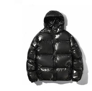 Popüler 2020 Kış Parlak Kalınlaşmış Pamuk Yastıklı Ceket Yeni Yansıtıcı Kapüşonlu Erkek Düz Renk Çiftin Pamuklu Ceket