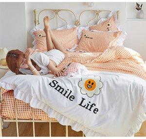 Simple girasol reactivo prender algodón de cuatro piezas por juego Conjuntos de cama edredón cubierta de cama cubierta de cama sábanas al por mayor 100% algodón