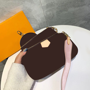 2020 Moda Klasik Üç Bir Omuz Çantaları Kadınlar Için Mektup Deri Messenger Zincir Crossbody Çanta Çanta Orijinal Kutusu