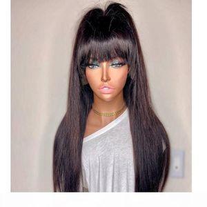 Parrucche dritte dei capelli umani del pizzo pieno con Bangs 150Density High Ponytail Capelli del Remy Brasiliani con il bambino per le donne nere