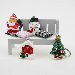 Keychain Christmas Snowman Reindeer House Jingle Bell Tree Wreath Stocking Snowflake Enamel Jewelry Car Decoration Keyring Gift