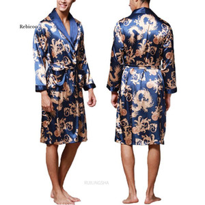 Fashion Men's Bathrobe Silk Kimono Long Sleeves Robe Chinese Lucky Dragon Print Pajamas Men Gown Bathrobe Men Homewear Sleepwear