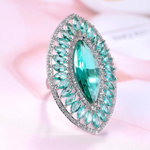 Luxury Ct Horse Eye Cut Zircon Ring With Micro Paved Light Green CZ Ring For Women Fashion Party Jewelry Female Rings