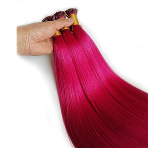 """DHgate Ön bağlanmış Saç Uzantıları ben İpucu İnsan Saç Uzantıları Toptan Kütikül Bağlantısızlar Saç Pembe Kırmızı Mavi Mor Sarışın 14 100strands """"-26"""""""
