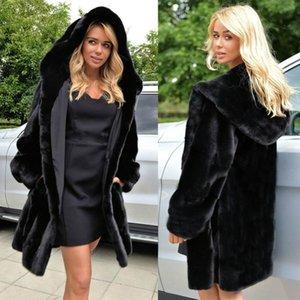 Womens 블랙 가짜 모피 코트 겨울면 대형 여성 슬림 피트 가짜 긴 오버 코트 여성 탑스 솜털 모피 코트 XXXL