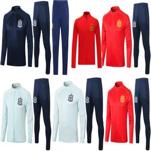 톱 2020 2021 스페인 성인 자켓 Tracksuit Camiseta España Morata 20/21 A.Inista Fabregas Ramos Diego ISCO 축구 자켓 훈련 슈트