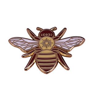 Magical Celestial Bumblebee Brooch Sun Moon Bee Talisman Pin Protector Pollinator Bright Energy Decor