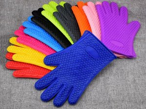 Silikon-Ofen-Handschuh Backhandschuh Herz dot Küche Grill Topfhandschuh Kochen BBQ Grill-Handschuh Lebensmittelqualität