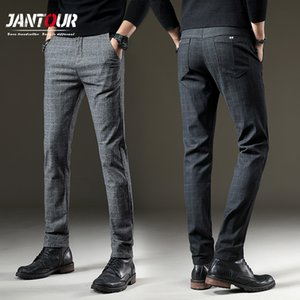 jantour Brand Pants Men Casual Elastic Long Trousers Male Cotton plaid gray Work Pant men's autumn Winter big size 28-38 Q1110