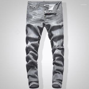 Graue Jeans Männer Slim Fit Denim Solide Farbe Hip Hop Streetwear Biker Jeans 744 # Herren Jeans11