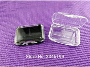 50pcs lot 2 grids Square Empty Eyeshadow Palette Case, Makeup Accessories, Plastic Cosmetic Compact Container