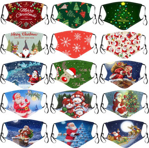 Fashion Christmas Masks Deer Printed Xmas Face Masks Anti Dust Snowflake Christmas Mouth Cover Washable Reusable With Masks Filters Free DHL
