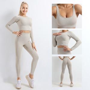 Осень Модельер женщин хлопка йоги костюм Gymshark Sportwear костюмы Фитнес Спортивные три шт комплект 3psc брюки бюстгальтер Леггинсы костюмы
