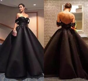 Black Arabic Evening Dresses 2021 Off Shoulder Beads Sequins Backless Formal Prom Ball Gown Queen Celebrity Party Robes De Soirée AL7554